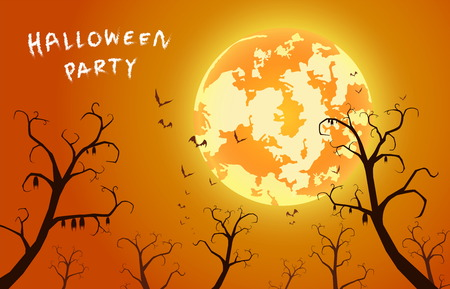 illustration sunset background and festival halloween with text,many bat on tree with full moon in grave on dark night , ghost and devil with celebration halloween day