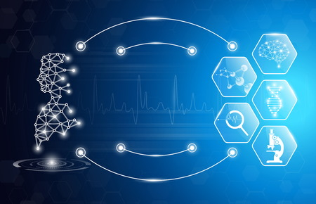 abstract background technology concept in blue light,brain and human body heal ,technology modern medical science in future and global international medical with tests analysis clone DNA human 版權商用圖片 - 123609780