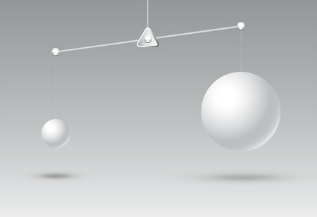 comparative with disadvantage and advantageous illustration,business competition concept and successful,difference of shape and not balance,circle big and small with copy space on white background Ilustração