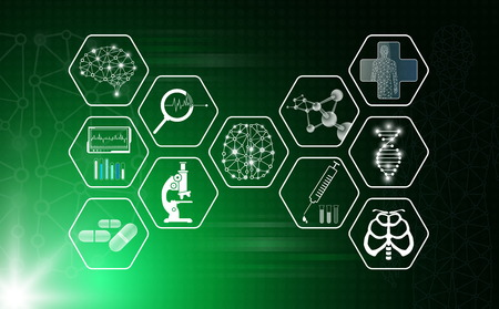 abstract background technology concept in green light,human body heal,technology modern medical science in future and global international medical with tests analysis clone DNA human