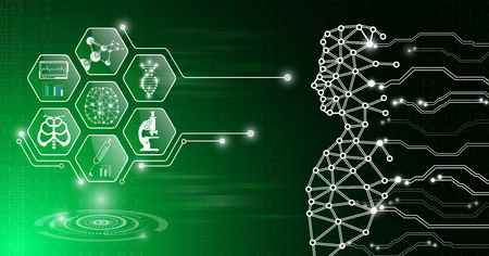 abstract background technology concept in green light,human body heal,technology modern medical science in future and global international medical with tests analysis clone DNA human Vektoros illusztráció