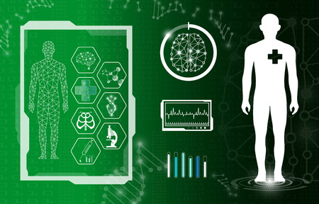 abstract background technology concept in green light,human body heal,technology modern medical science in future and global international medical with tests analysis clone DNA human 版權商用圖片 - 123609809