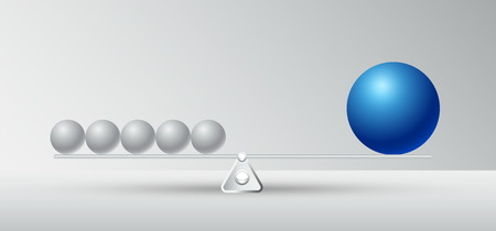 comparative with disadvantage and advantageous illustration,business competition concept and successful,difference of shape and not balance,circle big and small with copy space on white background Vectores