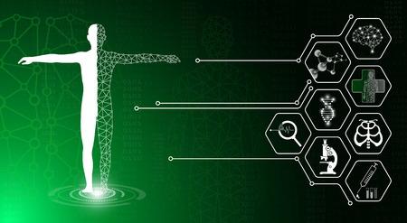 concept de technologie de fond abstrait dans la lumière verte, le corps humain guérit, la science médicale moderne de la technologie à l'avenir et la médecine internationale mondiale avec des tests d'analyse clone ADN humain