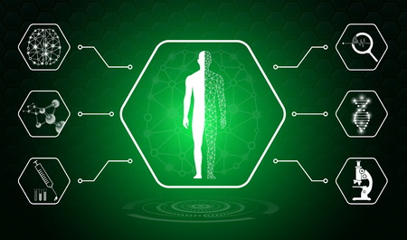 abstract background technology concept in green light,human body heal,technology modern medical science in future and global international medical with tests analysis clone DNA human Banque d'images - 123609819