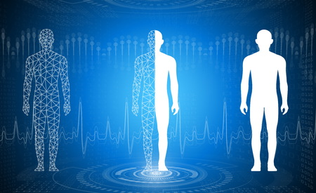 concepto de tecnología de fondo abstracto en luz azul, curación del cerebro y del cuerpo humano, tecnología ciencia médica moderna en el futuro y medicina internacional global con análisis de pruebas clon ADN humano