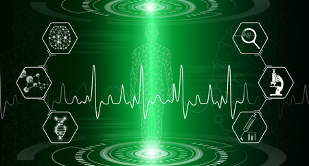 Abstract  technology concept in green light, human body heal,technology modern medical science in future and global international medical with tests analysis clone DNA human Ilustração