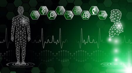 Abstract  technology concept in green light, human body heal,technology modern medical science in future and global international medical with tests analysis clone DNA human Banque d'images - 125831226