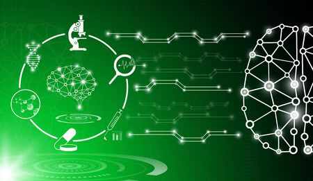 Abstract technology concept in green light Ilustração