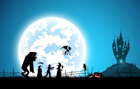 Festival Halloween concept full moon on dark night with many ghost