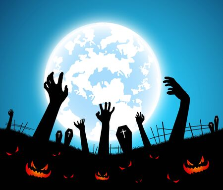 illustration halloween festival background,full moon on dark night with zombie hand up from the grave,many ghost and devil walking to castle for celebration halloween day Banque d'images - 132141750