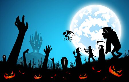 illustration blue background,festival halloween concept,full moon on dark night with many ghost,scarecrow,frankenstein and devil walking to castle for celebration halloween day Banque d'images - 133372463