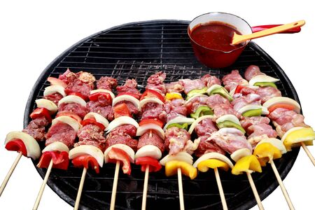 clipping paths,celebration party in family with delicious barbecued chicken,pork and beef seasoned with a spicy basting sauce,closeup of raw meat grilled on stove,freshly grilled steaks and vegetables Banque d'images - 132682179