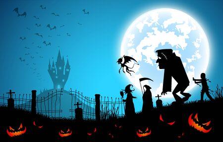 blauer Hintergrund der Illustration, Festival-Halloween-Konzept, Vollmond in der dunklen Nacht mit vielen Geistern, Vogelscheuche, Frankenstein und Teufel, die zur Burg für Feier Halloween-Tag gehen