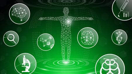 abstract background technology concept in green light,human body heal,technology modern medical science in future and global international medical with tests analysis clone DNA human Banque d'images - 133372440