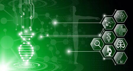abstract background technology concept in green light,human body heal,technology modern medical science in future and global international medical with tests analysis clone DNA human Banque d'images - 134473887