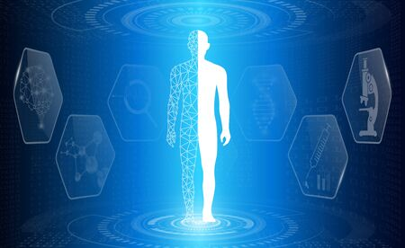 abstract background technology concept in blue light,brain and human body heal ,technology modern medical science in future and global international medical with tests analysis clone DNA human Banque d'images - 134473900