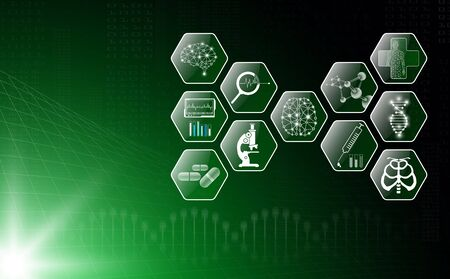 abstract background technology concept in green light,human body heal, technology modern medical science in future and global international medical with tests analysis clone DNA human Banque d'images - 134473909