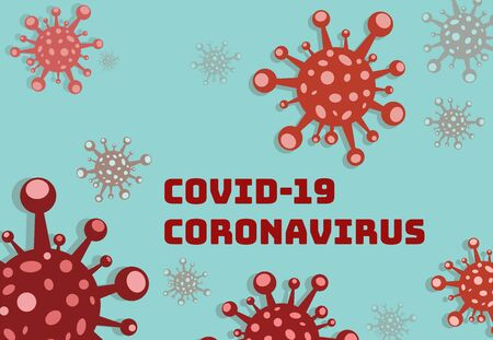 Publicity sign coronavirus on blue