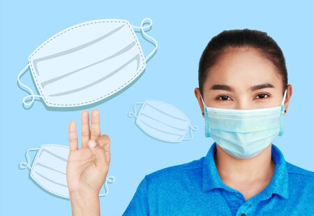 publicity signs for coronavirus prevention,doctor and nurse with covid-19 prevention,woman wearing a mask isolated on white background