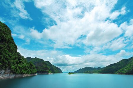 mountain landscape and lake, beautiful panorama 版權商用圖片