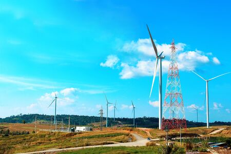 landscape wind turbine,renewable energy for the environment and sustainable development Stockfoto
