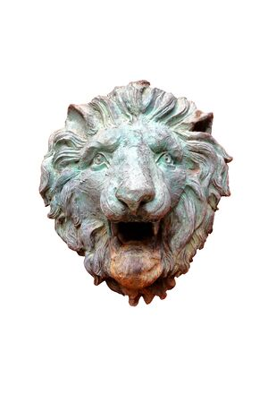 bronze of lion head sculpture with decorative art roman style, ancient with lion head isolated on white background