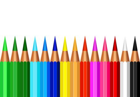 Set of colorful pencil color isolated on white Illustration