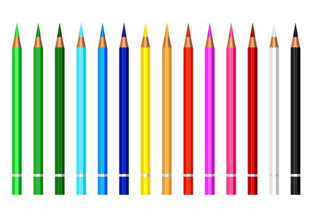 set of colorful pencil color isolated on white background,equipment for art,stationery paint and drawing for children Ilustracje wektorowe