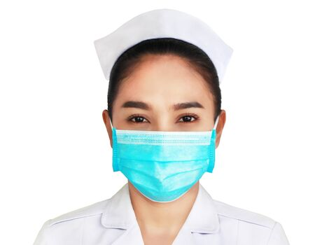 female doctor in white uniform shirts isolated on white background,woman wearing white hat and blue mask,technology modern medical science in future and global international medical Stockfoto
