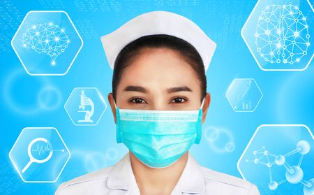 female doctor isolated on blue background,brain and human body heal ,technology modern medical science in future and global international medical with tests analysis clone DNA human
