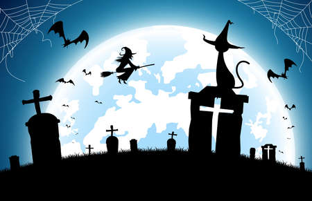 illustration halloween festival background,full moon on dark night with black cat on the grave,many ghost and devil walking to castle for celebration halloween day