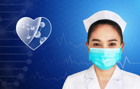 illustration of female doctor isolated on blue background,brain and human body heal ,technology modern medical science in future and global international medical with tests analysis clone DNA human