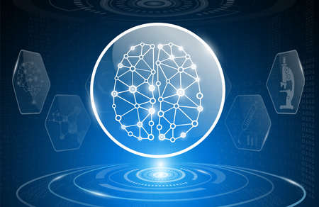 Brain and human body heal medical science in future and global international medical with tests analysis clone DNA human