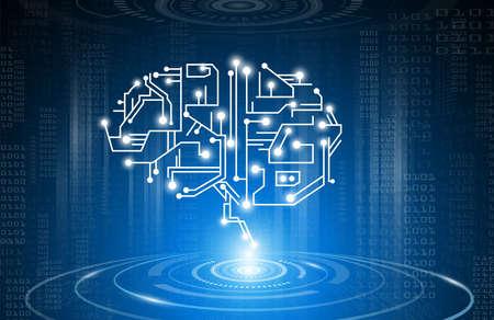 Technology concept,digital brain genius with electric circuit Stock Illustratie