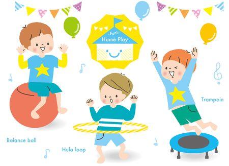 Energetic Boys Play Rhythmic Set Ilustración de vector