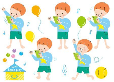 Energetic Boys Play Rhythmic Set Smartphone Ilustración de vector