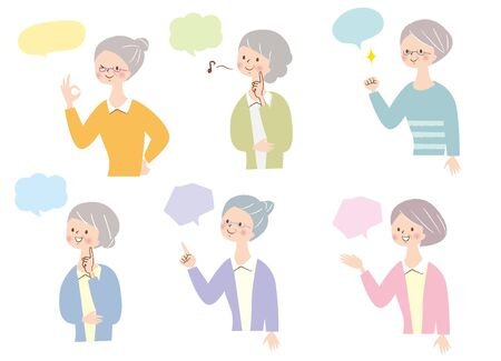 Senior woman who rejoices facial expression set Stock Illustratie