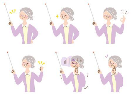 Cute Senior Woman Facial Expression Set