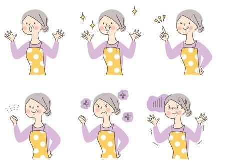 Cute Apron Senior Woman Facial Expression Set 일러스트