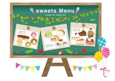 Sweets Set Baked Goods Set Blackboard Menu Table  イラスト・ベクター素材
