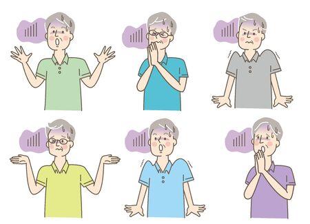 Scary Senior Men Summer Clothes Facial Expression Set 일러스트