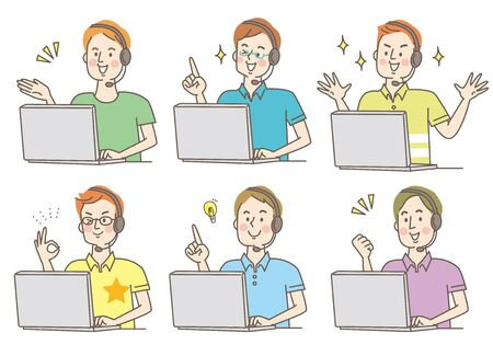 PERSONAL COMPUTER HEADSET SMILING YOUNG MEN PERSONAL CLOTHES SET Vector Illustratie