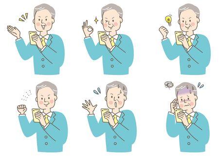 Smartphone Suit Senior Men Facial Expression Set Illustration