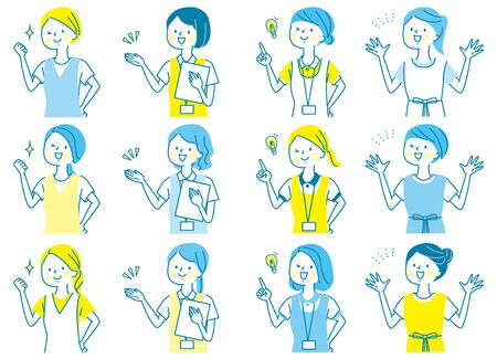 Young Woman Facial Expression Set Doctor Nurse Manipulator Receptionist Receptionist White Coat