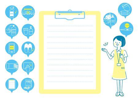 Female nurse and medical icon explained with a smile Illusztráció