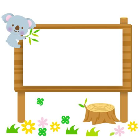Cute koala and flower background climbing the sign