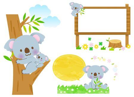 Cute Koala Parent and Child Frame Set of Balloons  イラスト・ベクター素材