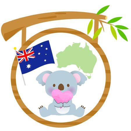 A cute koala sign with an Australian flag and a map heart