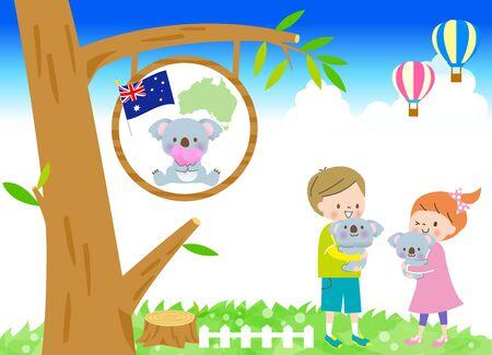 Smiling boy and girl hugging cute koala in australia in blue sky
